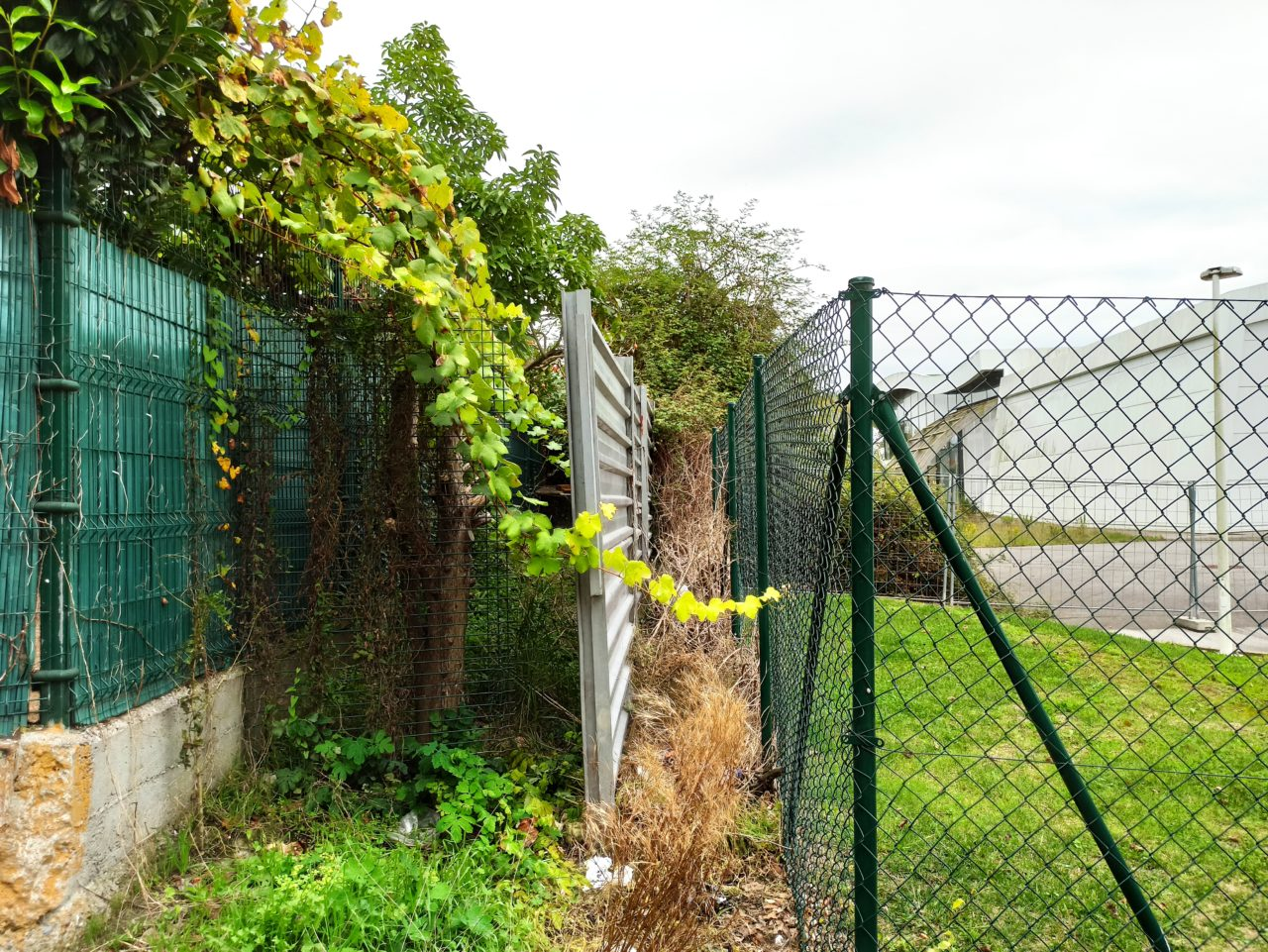 Valla separadora entre urbanización y depuradora (miGijón)
