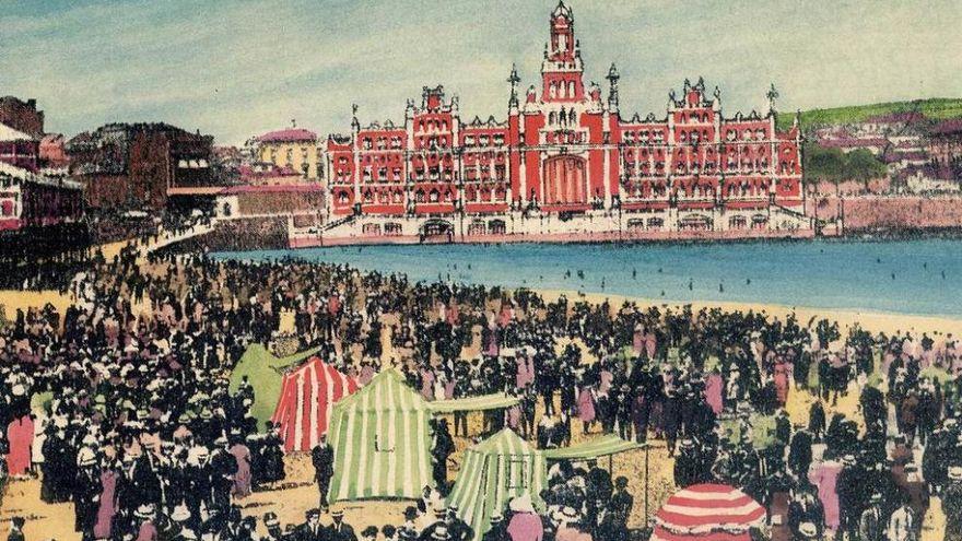 Proyecto del Casino, Balneario, Hotel y Teatro del Campo Valdés. Fotomontaje publicado en la publicación Gijón veraniego de 1922